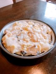 白菜、きのこ、油揚げのクリーム炒めの写真