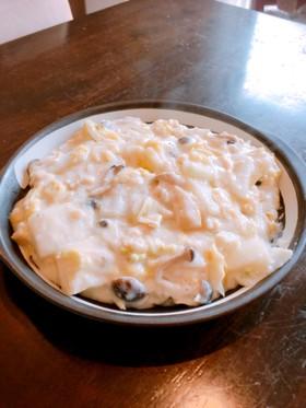 白菜、きのこ、油揚げのクリーム炒め