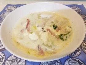 白菜ベーコンエリンギの豆乳スープ
