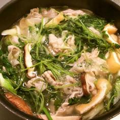 美味出汁で食べる豚バラ豆苗鍋
