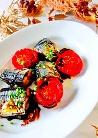 秋刀魚と焼きトマトのバルサミコソースかけ