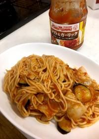 糖質0麺で茄子とトマトのガーリックパスタ