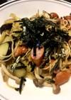 糖質0麺でペペロンチーノ醤油味(具沢山)