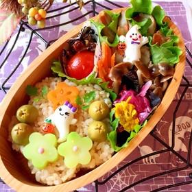 梅型おにぎり 常備菜弁当 簡単 詰め方