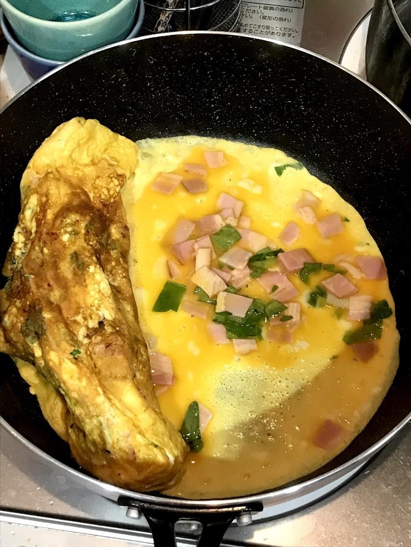 ベーコンと大葉の卵焼き