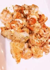 白身魚と海老のマヨガーリック炒め