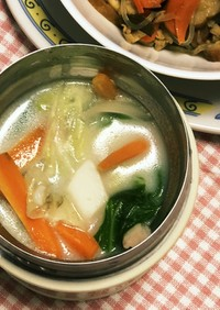 スープジャーで♡ちゃんぽん風春雨スープ♪