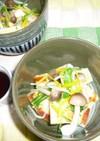 焼き油揚げと水菜・しめじのポン酢和え