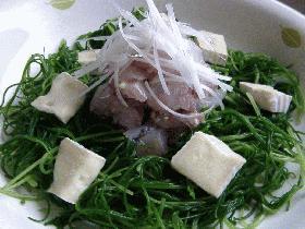 鯵のたたきと若芽ひじきのチーズサラダ