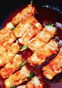 厚揚げと野菜の肉巻き BBQ風ソース♪