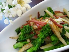 菜の花ポテトべーコン炒め
