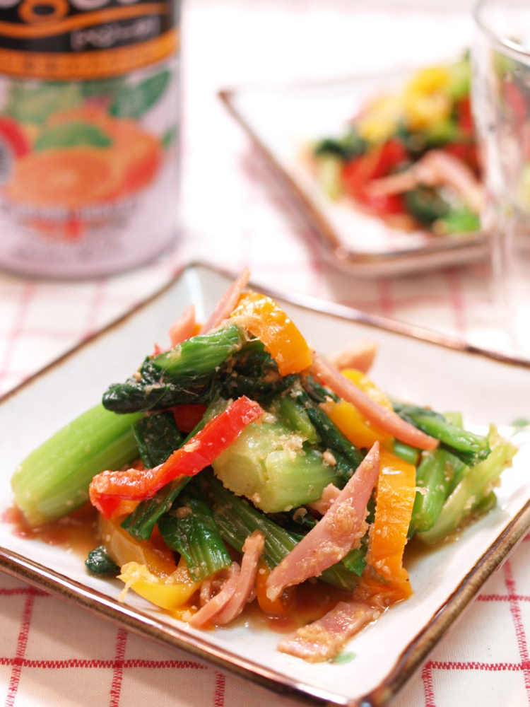 ベーコンと小松菜とカラーピーマンのさっぱり生姜和え