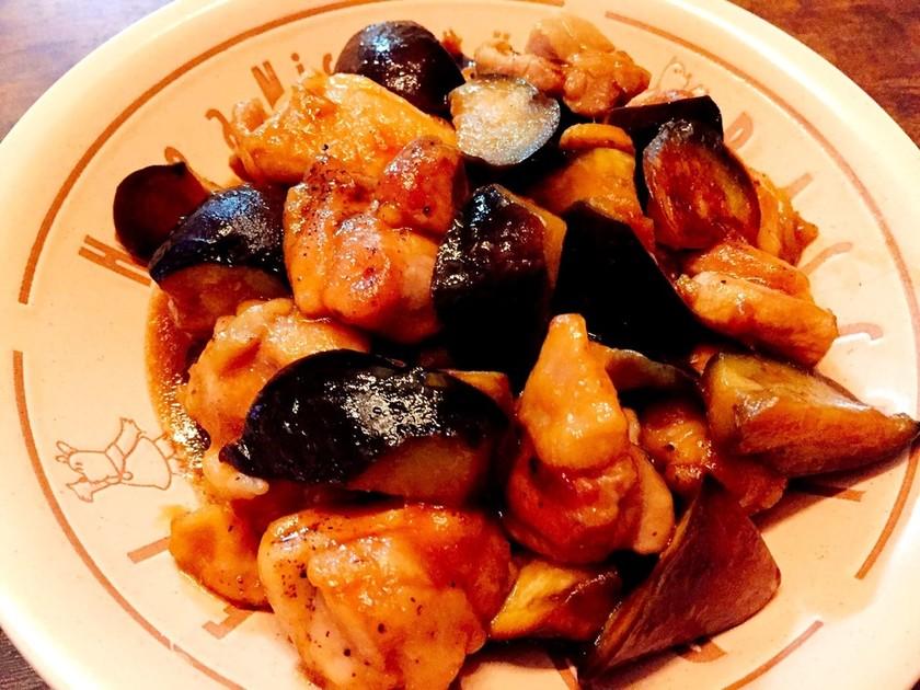 鶏肉となすの甘酢炒め