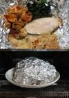 ヌメリスギタケ、塩鮭、おから等ホイル焼き