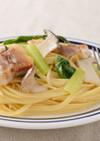 塩豚と小松菜のパスタ