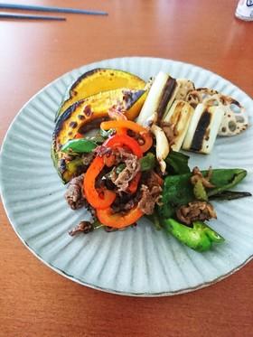 牛肉とパプリカピーマンのテキトー炒め