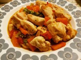 彩野菜と鶏むね肉の塩だれ炒め