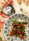 ふじっ子煮で、トマト&大葉の和風トースト