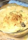 蕪の葉と椎茸の豆腐グラタン