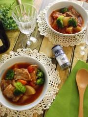 豚軟骨と根菜のトマトスープの写真