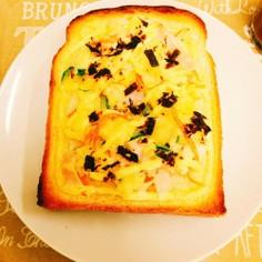 ポテサラとふじっこ煮おかか昆布のトースト