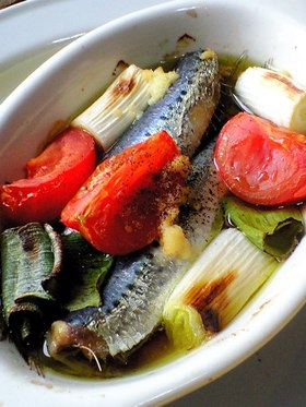 スペイン料理風 いわしのガーリックオイル