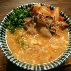 牡蠣の旨味でキムチ雑炊!(辛旨牡蠣雑炊)