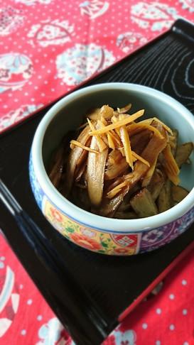 レンジで簡単☆牛蒡と新生姜の佃煮。