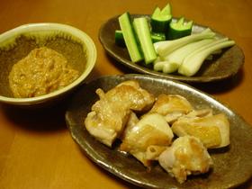 ☆鶏もも焼きと野菜のにんにく味噌添え