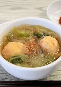 ゆず胡椒鶏だんごの和風はるさめスープ
