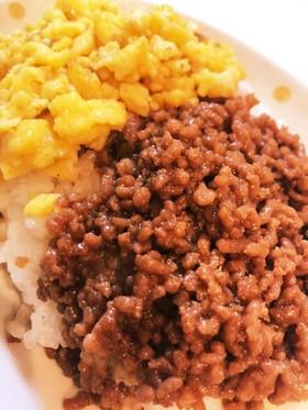 簡単☆混ぜるだけ♬ひき肉と卵焼のそぼろ丼