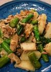 サバ水煮缶の洋風 アスパラ、ポテト炒め