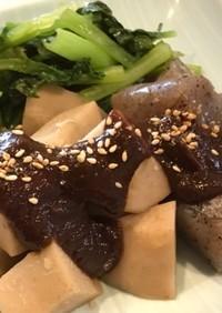 親芋とコンニャクの柚子味噌田楽小松菜添え