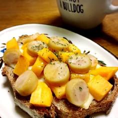 柿とウインナーのチーズトースト