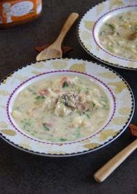 牡蠣と蕪の味噌チャウダー