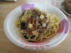 納豆と沢庵の麺つゆスパゲティ