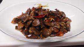砂肝の大蒜醤油炒め(下茹でで柔らかく)