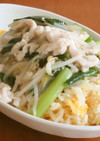 鶏むね肉と小松菜ともやしのあんかけ卵炒飯