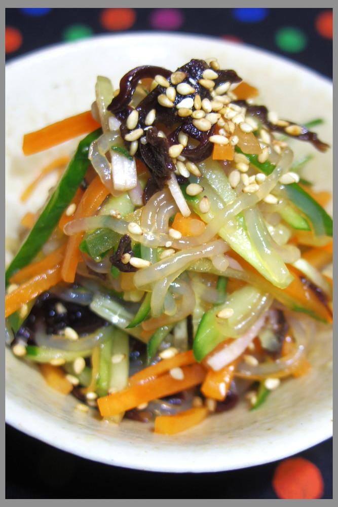 キクラゲとしらたきのさっぱり中華サラダ