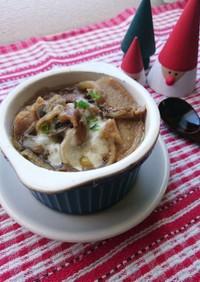 お麩と乾物のオニオングラタンスープ