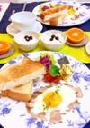 ベーコンエッグとトースト朝食 常備菜献立
