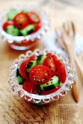 プチトマトのポン酢☻黒ゴマ和え☻