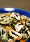 レンコンとひじきとお豆腐のごった煮