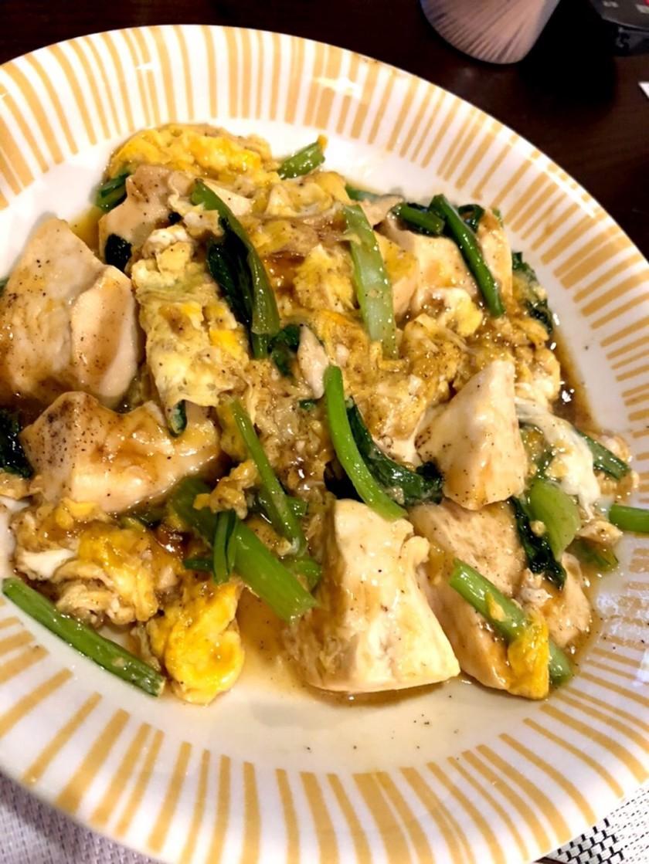 豆腐と小松菜と卵の炒め物