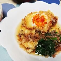 冷凍卵で、揚げ卵の天ぷら。