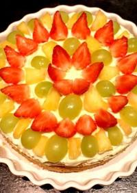 デコレーションケーキのフルーツ並べ方