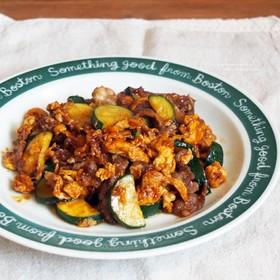 牛肉と炒り卵の味噌炒め