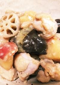 鶏モモ、秋野菜とりんごの味噌炒め