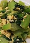 簡単絶品・タアサイと卵の蕎麦つゆ炒め