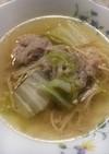 白菜と春雨と鴨肉団子のスープ
